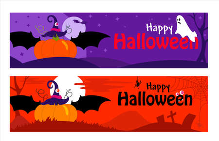 Happy Halloween banner or party invitation color background with Pumpkin. Grave, cross, moon, flying bats and spider web in flat design. Vector cartoon. Place for text