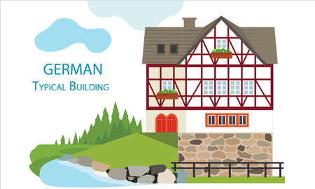 German old typical house. Flat design typical buildings European old houses. Colorful half-timbered style for houses. Cute design for textile, wallpaper, background. Stock Illustratie
