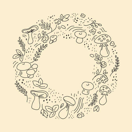 Autumn hand-drawn background layout decorate with leaves and mushrooms. A round Doodle for posters, a leaflet frame, or a web banner. Illustration