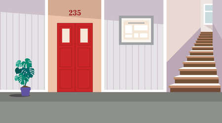 Vector residential corridor with window, door and stairs. Interior of the 1st floor. Vector illustration of the interior of a room corridor or hallway for background, print, web.