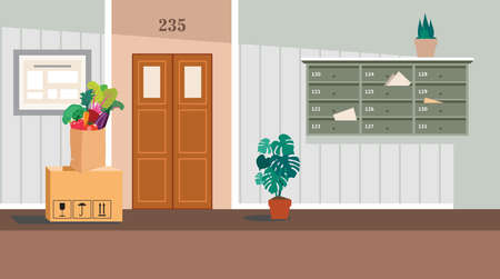 residential corridor with window, door and stairs. Interior of the 1st floor. illustration of the interior of a room corridor or hallway for background, print, web.