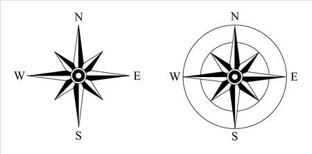compass on an isolated background. Wind Rose. North, West, South, East symbol.