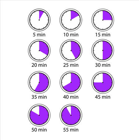 Time and Clock icons. A simple set of different icons. Contains icons such as a timer for 5 minutes, 30 minutes, 45 minutes, and others Vektoros illusztráció
