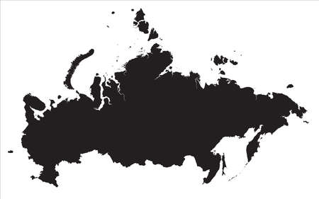 A very detailed map of Russia with Islands. The silhouette of Russia on a transparent background can be used in banners.