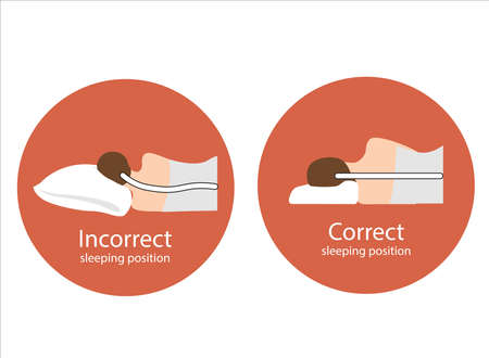 The correct position of the spine line on the orthopedic pillow when sleeping. Incorrect position of the spine on the pillow. Care for the health of the back and neck. Illustration