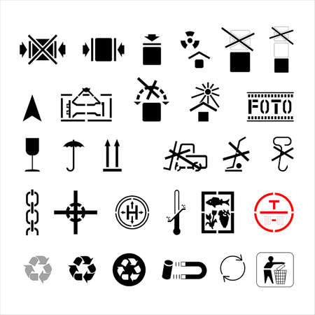 A set of symbols marking cargo on boxes, bags, and packaging. Isolated. Cargo marking. The symbols packages