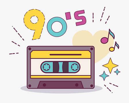 Design style element collection 90s. Item from 90s cassette. USSR. Illusztráció
