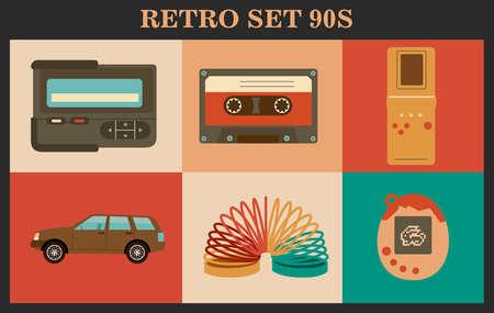 Retro elements collection 90s. Items from 90s. Illusztráció