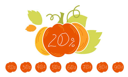 Autumn Sale discount banner. Up to 50% 20% 30% off banner for your website.  Big Pumpkin Yellow tag templates with special offers. Isolated vector illustration.