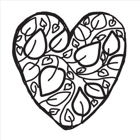 Heart symbol. Cute vintage Line style. Elegant calligraphic Art frame with leaves. For Valentines day, love, wedding symbol. Vector background
