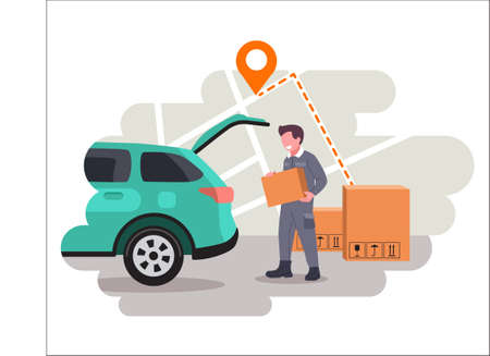 Online delivery home and office service concept. Moving to a new apartment concept. Delivery man with Parcels. Fast delivery mail. Vector illustration for Webpage, app design. Illusztráció