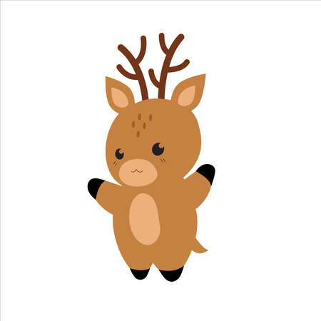 Cute cartoon Deer. Funny kawaii animal character design.  Modern Flat vector illustration isolated on a white background.  Deer for childrens cards, invitations, textiles, clothing, childrens decor Ilustracja