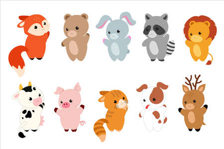 Cartoon cute Animals characters - bear, Fox, raccoon, dog, cat, cow, deer, rabbit,  pig and lion. Vector illustration. Vector set with animals in kawaii style for baby cards and invitations.