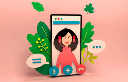 Video call conference, working from home, social distancing, business discussion.  Girl having video chat. 3d rendering illustration. Stream, web chatting, online meeting friends. Stock fotó