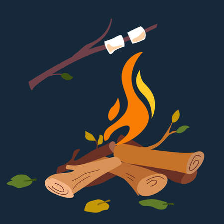 Vector cartoon illustration of a burning fire with wood. Firewood. Outdoor campfire.  Marshmallows on skewers at night. Fire with marshmallows - camping, burning forest. Vector illustration
