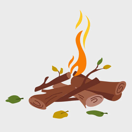 Vector cartoon illustration of a burning fire with wood. Firewood. Outdoor campfire.  A camp fire burns. Fire isolated on a background. Vector illustration Illusztráció