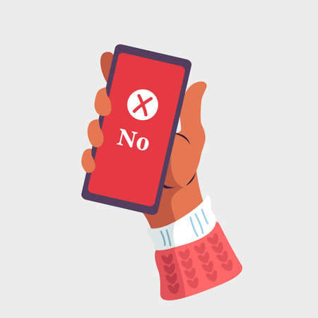 Hand holding a smartphone on isolated background. Notification of rejection message on mobile phone. Vector illustration. Flat cartoon design for web banners,  websites, and infographics.