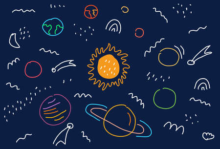 Space flat vector background with Planets, moon, Jupiter, satellite and stars.  Hand drawing cartoon Illustration of a space Doodle. Vector illustration. Illusztráció