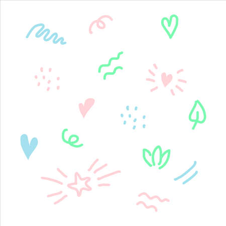 Nice doodle elements wave, dot, star, heart for children overlay set.  Baby photo album elements. White isolated background.