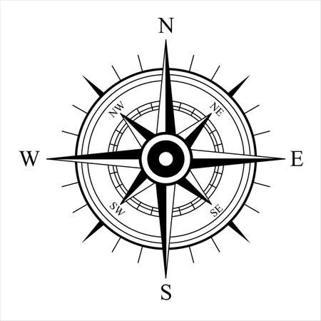 Wind Rose. Vector compass on an isolated background. Direction North, West, South, East. Vector symbol. Vettoriali