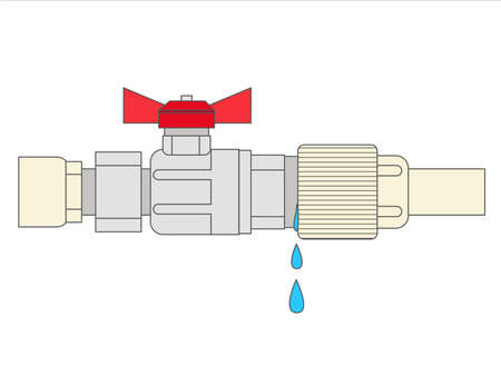 Illustration of a leaking pipe with leaking water.  The broken pipe. Water leakage.  Flat vector style illustration. 向量圖像