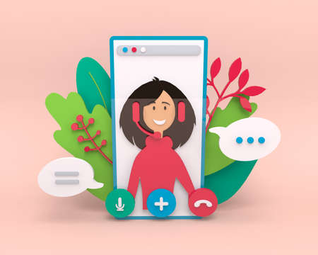 Video call conference, working from home, social distancing, business discussion. Girl having video chat. 3d rendering illustration. Stream, web chatting, online meeting friends Stock fotó