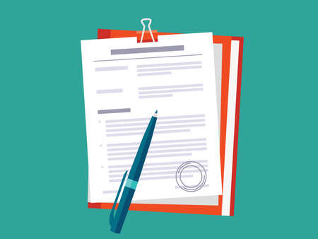 Contract papers. Document with approval stamp. Folder with pen.  Business Vector icons on isolated background. Stack of agreements document. Ilustracja