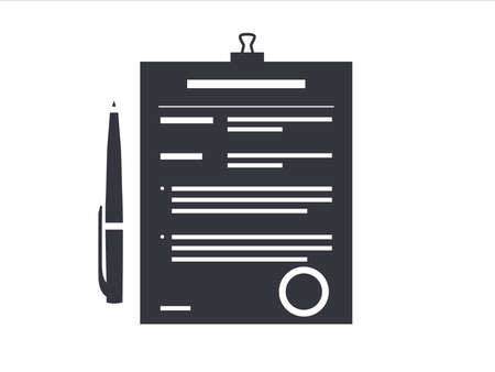 Contract papers. Document with approval stamp. Folder with pen. Business Vector icons on isolated background. Stack of agreements document.