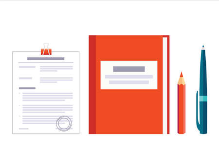 Contract papers. Document with approval stamp. Folder with pen and pencil. Business Vector icons on isolated background. Stack of agreements document.