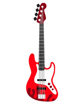 Rock guitar. Bass guitar. Electric guitar.  Silhouette. Stringed musical instrument. Flat vector cartoon style on isolated background. Illusztráció