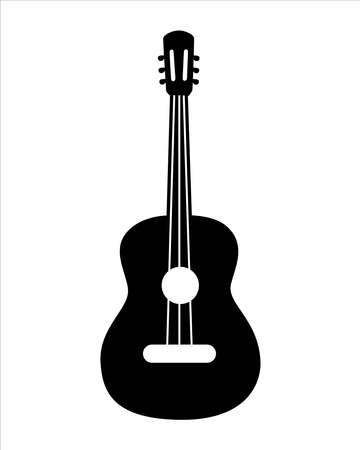 Classical guitar. Acoustic guitar.  Silhouette. Stringed musical instrument. Flat vector cartoon style on isolated background. Illusztráció