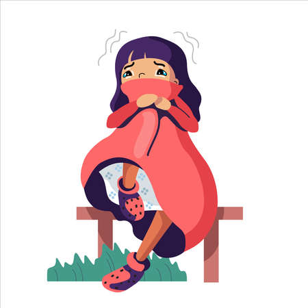 Sad and depressed girl sitting. Disappointed teenager. Fearful, Unhappy and stressed student.  Creative flat vector illustration.