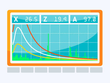 Screen with different pulses and the noise level value. Monitor of the ultrasonic device.  Graphic of sine wave.  Vector illustration.