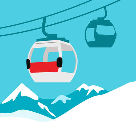 Funicular railway. Ski cable lift in Mountains for ski and winter sports, Winter Tourism.  Vector illustration. Illusztráció