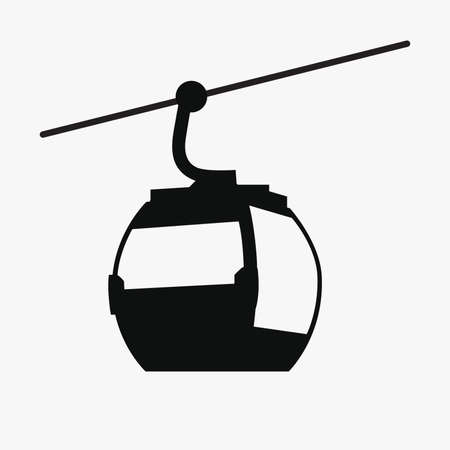 Funicular railway icon. Ski cable lift in Mountains for ski and winter sports, Winter Tourism.  Vector illustration.