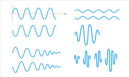 Sinusoid. A set of sinusoidal waves. Pulse lines isolated on a white background. Vector symbol Illusztráció