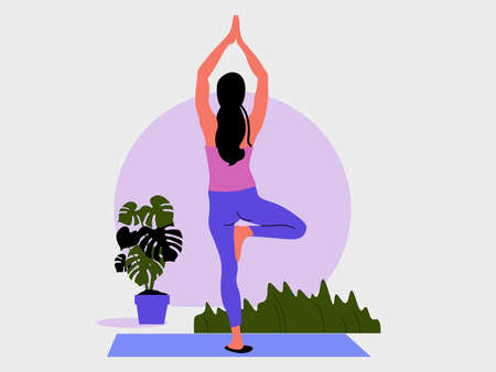 Young woman stands in a Yoga Pose tree and meditates. The girl doing the stretching exercises at home.  Physical practice. Vector flat illustration.