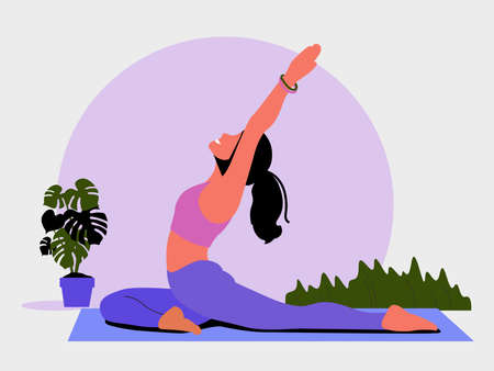 Young woman sits in a Yoga Pose and meditates. The girl doing the stretching exercises at home.  Physical practice. Vector flat illustration.