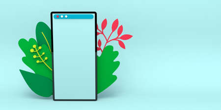 Smartphone with blank screen and decoration leaves. Template for infographics or presentation UI design interface, online shopping, sale, delivery, chat. 3d rendering illustration