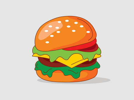 Simple fresh Burger with cheese and meat. Flat vector illustration.