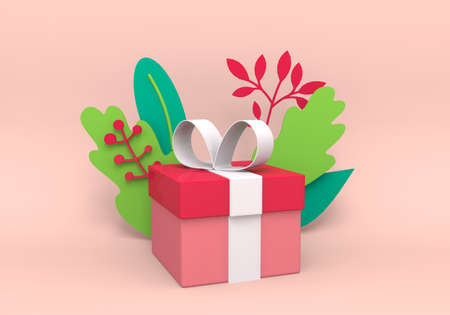 Festive pink gift box with white bow. A holiday Gift on a pink background with decorative leaves.  3D rendering illustration Stock fotó