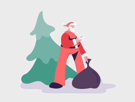 Cute Santa Claus with a gift bag. Santa is holding a phone with a list of recipients.  Vector illustration of gift delivery