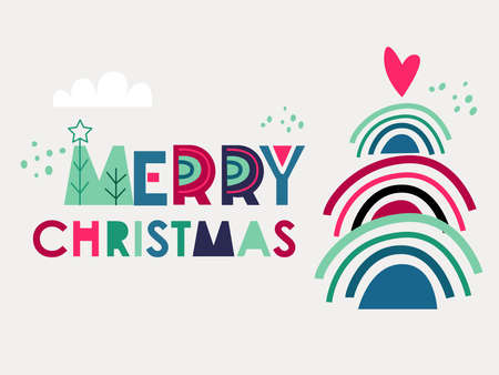 Christmas and New year with a Christmas tree, Christmas Eve toys. Modern Christmas design for  greeting cards, banners and posters.