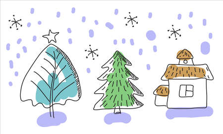 Doodle, hand drawn Christmas and New year with a Christmas tree, Christmas Eve, house, snowflake. Modern Christmas design for greeting  cards, banners and posters. Illusztráció