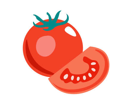 Tomato for magazine, farmers market, vegetarian salad recipe design, web.  Vegetable on an isolated background. Icon Vector flat illustration
