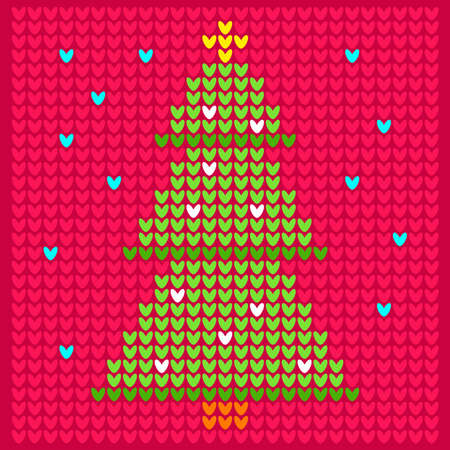 Knitting illustration with Christmas and New Year tree. Geometrical Vector Cross stitch.  Scheme of knitting and embroidery.