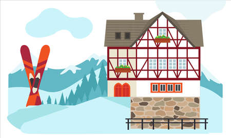 Winter Germany house in a cozy snowy panorama. Winter village landscape with skis.  Winter Christmas landscape for banners, greeting cards. Vector flat illustration for  background with space for text