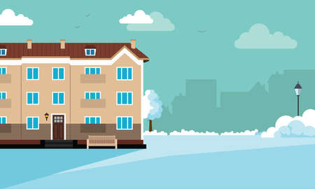 Winter house in a cozy snowy city panorama. Winter Christmas landscape for banners, greeting cards,  and ads. Vector flat illustration for background with space for text.