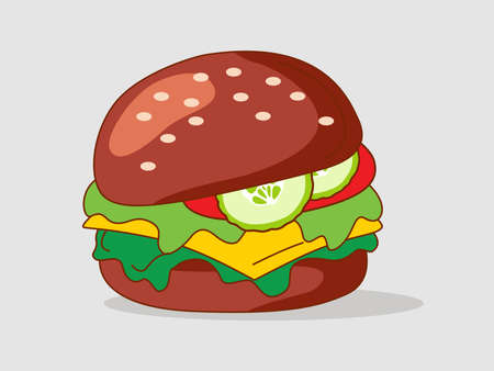 Healthy Vegan dark burgers with herbs, cheese, cucumber. Fast food meal. Flat Icon vector illustration. The concept of healthy food, clean food
