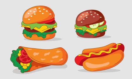 Set of flat Fast Food meal Icons. Vegetarian Burger, American Burger, Shawarma, American Hot dog,  isolated on background. Vector cartoojn illustration. Illusztráció